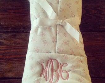 Monogrammed Petit Rosebud Baby Blanket
