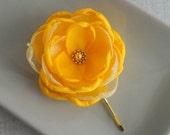 Small Yellow flower Hair Clip Bobby Pin Accessory, Autumn Weddings Bridesmaids hair Yellow gift, Fall Flower girls gift Shoe clips dress