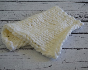 Knitted White Mini Baby Blanket Photo Prop Layering Super Thick and Chunky