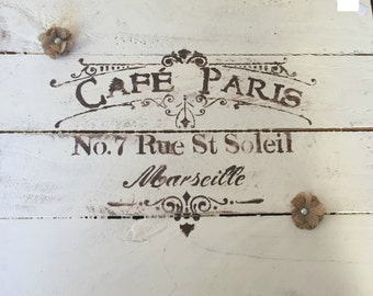 Reclaimed Lumber Wood Stenciled Quotes Sign, Cafe Paris sign, French Sign, Vintage Sign