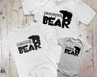 momma bear poppa bear baby bear shirt set t-shirt family tshirts new baby gift new sibling newborn infant dad mom mommy daddy combo package