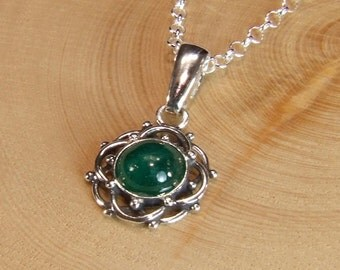 Emerald (Translucent Genuine Emerald), 8mm x 1.97 Carat, Cabochon Cut, Sterling Silver Pendant Necklace