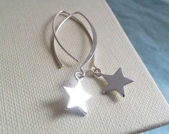 Star Earrings. Sterling Silver Earrings. Galaxy Earrings.  Sterling Star.Dainty Delicate. Christmas Jewelry. Christmas Gift