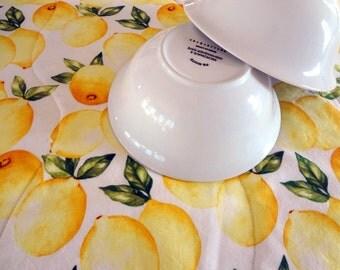 Dish drying mat, Cottage chic dish mat, summer lemons  cotton fabric,  eco friendly dish mat.