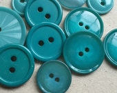 teal and turquoise blue non decorative nos and vintage buttons--mixed lot of 12