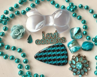 baby blue,turquoise and teal love goddess destash of broken jewelry for creating assemblages and collages lot of 10 items