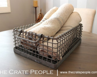 HEAVY Galvanized Metal Bins | Vintage Industrial Metal Wire Baskets – Metal Wire Crates
