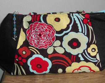 Large Purse, Handmade, With Black and Floral Fabric