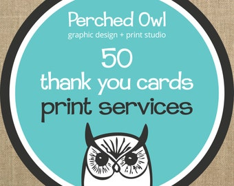50 Professionally Printed Fold Over Thank You Cards with Envelopes - ADD ON - to any Fold Over Thank You Card Design