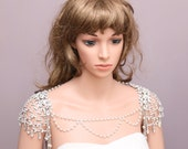 Vintage Style Flower Back Drop Bridal Draping Faux Pearl Chain Tassel Wedding Epaulettes Bridal Shoulder Necklace Jewelry Accessories