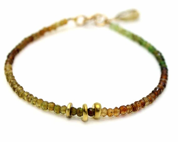 Ombre  Beaded Bracelet. Green Garnet. Gemstone Jewelry. Golden rutilated quartz drop. Gold Fill or Sterling Silver. Drop B-1912