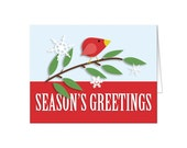 Holiday Cards - Red Bird Season's Greetings Modern Printed Christmas Cards