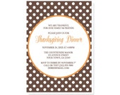 Thanksgiving Dinner Invitations - Orange Brown Polka Dot Thanksgiving Invitations - Printed Invitations