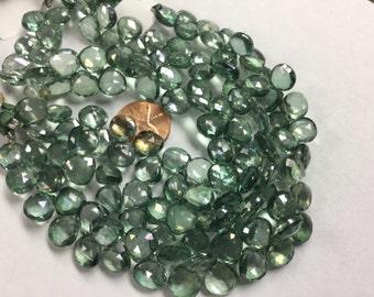 Green Mystic Quartz Hearts Faceted
