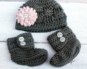 Baby Girl Hat and Booties, Crochet Baby Boots, Baby Hat, Newborn Baby Girl