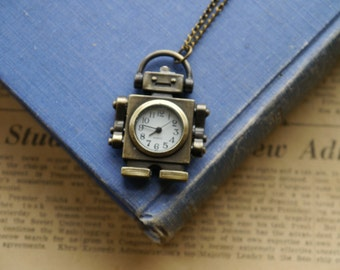 Antique Bronze Retro Robot Pocket Watch with Chain- (BC378)