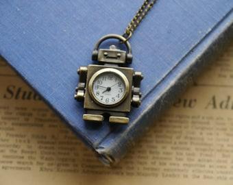 Antique Bronze Retro Robot Pocket Watch with Chain- (BC378)