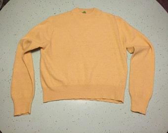 1950s Wool Fur Sweater 50's Yellow Long Sleeve Sweater Jumper