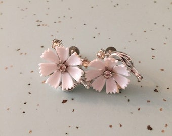 Vintage Lisner Earrings White Flower and Rhinestones Silver Screw Back Setting
