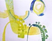 original watercolor painting art 13,8 x 10,6 inch
