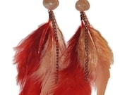 Orange & Amber Feather Earrings, Desert Sunrise on  Brass Ear Wires, Awesome Graduation Gift