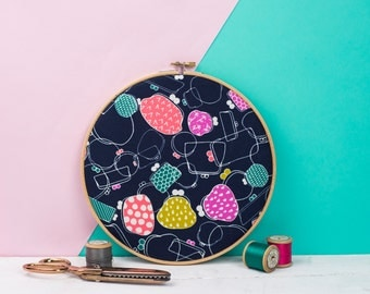 Embroidery hoop art - Embroidery hoop wall art - Contemporary fabric art - Gallery wall art - Patterned fabric gifts - Textile gifts