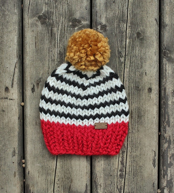 Bright red with black and white stripes chunky knit toddler