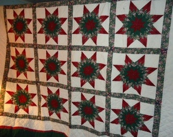 Vintage Quilt with  Two Pillowcases Star Pattern