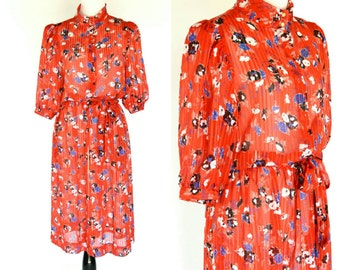 Vintage 1980's Red Floral Secretary Dress - Red sheer shirtwaist Dress - 80's summer dress - ladies size medium to small
