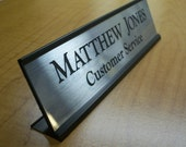 Custom Engraved 2x8 Desk Sign Name Plate / Personalized Customized Brushed Silver