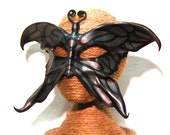 Leather Butterfly Mask, Black and Silver, Handpainted Leather Art Mask