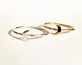 Moon ring sterling silver, moon ring 14k gold vermeil, dainty ring, stacking ring silver moon ring