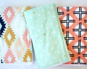 Arizona Baby Burp Cloths   Oversized Unisex Baby Burp Cloths by JuteBaby - Mint with Gold Triangles, Aztec Kilim, and Clay Sundots