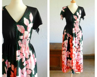 70's TORI RICHARD MAXI Dress - Feminine / Festive / Rare / Tropical / Party / Size Medium