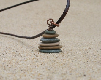 Leelanau Stacked Beach Stone Pebble Cairn Pendant Necklace with 18 Inch Brown Leather Cording - Zen - Eco Jewelry - Beach Jewelry