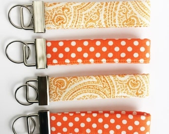 Tennessee Keychain - Orange Key fob - Key Chain - Fobskey - Fabric Key Fob - Orange Keychain - Wrist Lanyard- Key Fob Wristlet - Key Fob