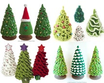 Set 4 Patterns. Christmas tree - 3 Crochet and 1 Knitting Patterns - 4 Pdf files by Zabelina, Pertseva, Sharapova Etsy