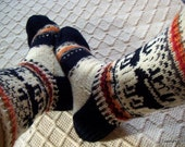 Trek of reindeer -Handknit Wool boot socks Mens womens girls boys Big Blue white Warm Cosy Winter ski hiking socks Gift idea Made in Finland