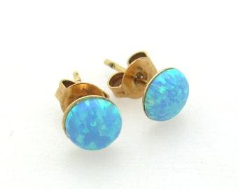 Opal Stud Earrings - Blue Opal Stone Stud - Gold stud earrings - Minimalist post earrings. Dainty Jewelry. turquoise Opal Earrings. Everyday