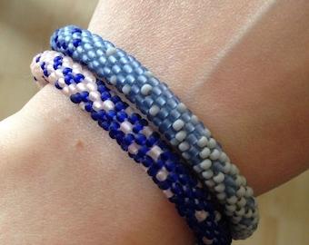 Clearance: Crochet bead bracelet - blue bracelet
