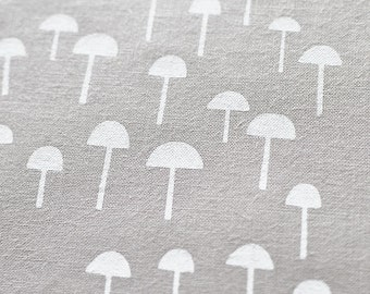 Tiny Forest in Alabaster White : organic cotton handprinted fabric panel
