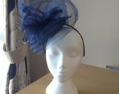 Navy Midnight Blue Fascinator Hatinator with a wave of pleated crin on a Band Weddings, Races, Ascot, Kentucky Derby, Melbourne Cup, Regatta