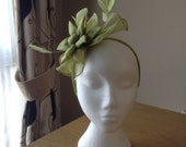 Apple Green Fascinator and Feather Fascinator on a hairband, races, weddings, special occasions, Ascot, Mother of the Bride