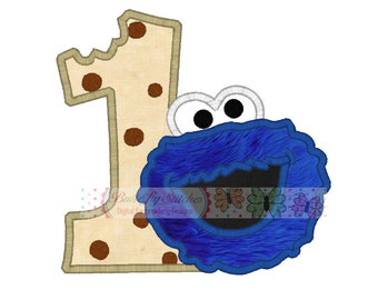 Cookie Monster Fat Number One Birthday Machine Embroidery Digital Applique Design