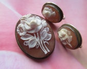 Carved Shell Floral Cameo Pendant,Deco 800 Silver Cameo Pin - Pendant Set, Pendant and Earrings Set, Cameo Earrings, Cameo with Flowers