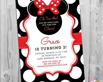 Minnie Mouse Birthday Invitations | Printable Girls Party Invitation | Black White Polka Dots and Red | 2nd Birthday Oh Twodles Invitation