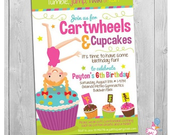 Cartwheels and Cupcakes Invitation: Printable Girls Birthday Party Invitations | Custom Invite | Cupcake Gymnastics Invite | Cheer Gym