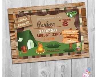 Camping Invitation, Boy Camping Invitation, Camp Birthday Invite, Camp Party Invitation for Boys