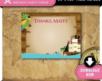Pirate Thank You Card | Printable | Girls Pink Pirate Birthday Party Cards | Instant Download | Invitation and Decorations in our shop
