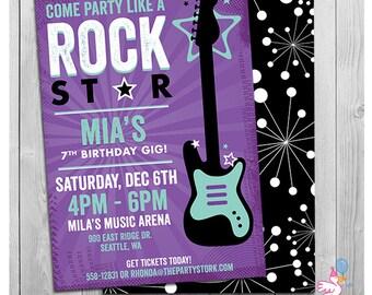 Rock Star Birthday Party Invitation | Printable Girls Party Invitations | Black Purple Rockstar Invites | Guitar